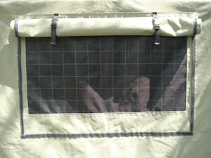 trailer cage cover canvas 2 way window close