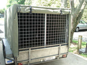 trailer cage cover canvas 2 way window open